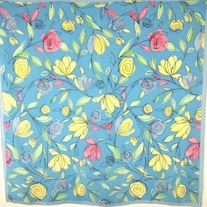 Talbots Silk Scarf Floral Flowers Blue Small